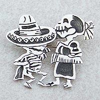 Sterling silver brooch pendant,