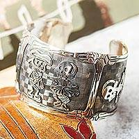 Sterling silver cuff bracelet, 'Skeletal Matador Dance' - Day of the Dead Matador Skeletons Bracelet