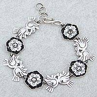 Sterling silver flower bracelet, 'Mexican Romance' - 925 Silver Bracelet with Flowers and Lovebirds from Mexico