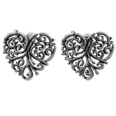 Sterling Silver Button Earrings Heart Shape from Mexico