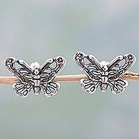Sterling silver button earrings, 'Flight of the Butterfly' - Sterling Silver Button Earrings Butterfly Shape from Mexico