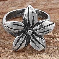 Sterling silver cocktail ring, 'Five-Petaled Flower' - Sterling Silver Cocktail Ring Flower Shape from Mexico
