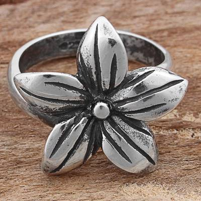 Sterling Silver Cocktail Ring Flower Shape from Mexico
