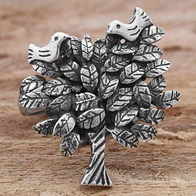 Sterling Silver Cocktail Ring Tree Shape from Mexico