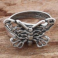 Sterling silver cocktail ring, 'Flight of the Butterfly' - Sterling Silver Cocktail Ring Butterfly Shape from Mexico
