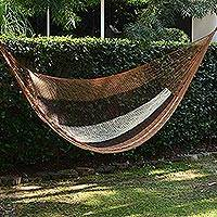 Hammock, 'Coffee and Chocolate' (single) - Hand Woven Maya Hammock in Chocolate and Coffee Brown