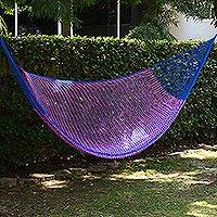 Hammock, 'Iridescent Tropics' (single) - Hand Woven Fuchsia and Royal Blue Hammock from Mexico