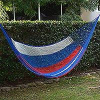 Hammock, 'Patriotic' (double) - Red White and Blue Hand Woven Nylon Maya Hammock (Double)