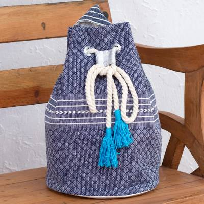 Cotton backpack, 'Day Trip in Blue' - Drawstring Cotton Backpack Handcrafted in Mexico