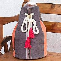 Cotton backpack, 'Day Trip in Grey' - Striped Drawstring Cotton Backpack Handcrafted in Mexico