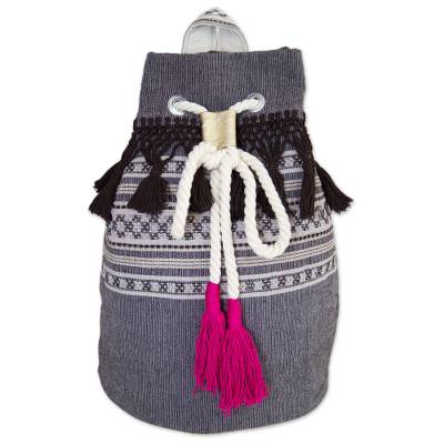 Striped Drawstring Cotton Backpack Handcrafted in Mexico