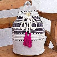 Cotton backpack, 'Day Trip Light' - Striped Drawstring Cotton Backpack Handcrafted in Mexico