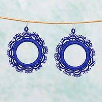 Cotton dangle earrings, 'Azul Sun' - Handcrafted Blue Cotton Dangle Earrings Sun Motif Mexico