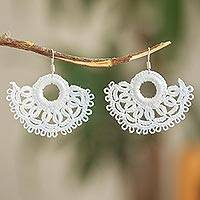 Cotton dangle earrings, 'White Sun' - Handcrafted White Cotton Dangle Earrings with Sun Motif