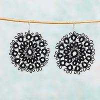 Cotton dangle earrings, 'Black Doily' - Handcrafted Black Cotton Dangle Earrings with Doily Motif