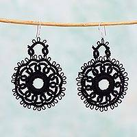 Cotton dangle earrings, 'Black Flower Blossom' - Handcrafted Black Cotton Dangle Earrings with Flower Motif