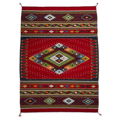 Zapotec wool area rug, 'Dynamic Diamond' (4x6) - Zapotec Wool Area Rug with Diamond Pattern in Red (4x6)