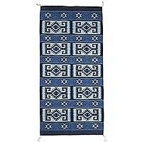 Zapotec wool area rug, 'Azure Snails' (3x5) - Zapotec Wool Area Rug in Blue with Snail Motif (3x5)