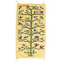 Zapotec wool area rug, 'Bird's Eye View' (3x5) - 100% Wool Area Rug in Yellow with Bird and Tree Theme (3x5)