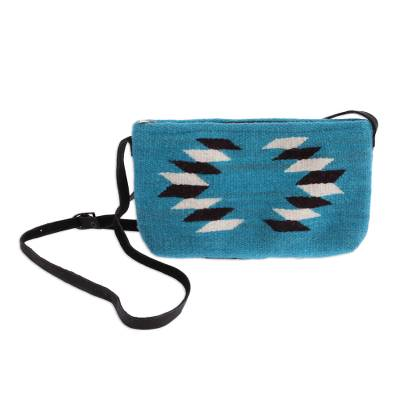 Hand Made Wool Sling Handbag Caribbean Blue from Mexico