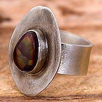 Fire agate cocktail ring, 'Nova Eye' - Fire Agate and Sterling Silver Cocktail Ring from Mexico