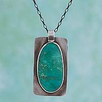 Turquoise pendant necklace, 'Natural History' - Hand Made Natural Turquoise Pendant Necklace from Mexico