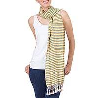 Silk scarf, 'Striped Beauty' - Hand Woven Striped Silk Scarf with Fringes from Mexico