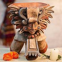 Ceramic incense holder, 'Eagle Omen' - Handcrafted Ceramic Incense Holder from Mexico