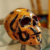 Ceramic sculpture, 'Balam Jaguar' - Handcrafted Mayan Ceramic Skull Sculpture from Mexico