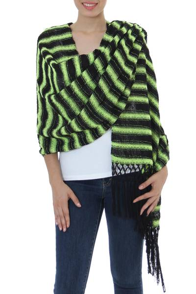 Cotton shawl, 'Chartreuse Journey' - Hand Woven Cotton Shawl Chartreuse Stripes from Mexico