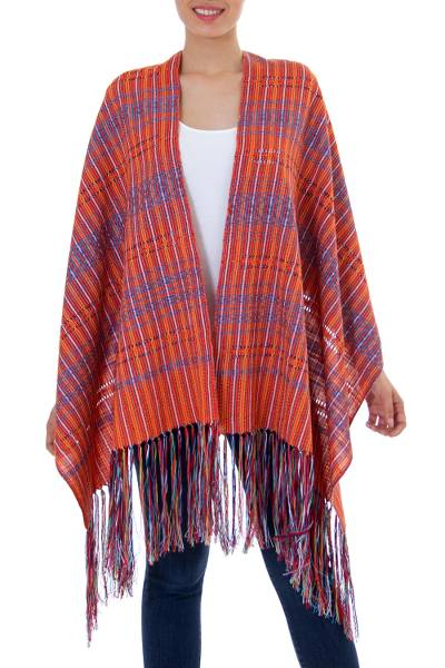Cotton shawl, 'Orange Journeys' - 100% Cotton Shawl Candy Apple Cyan Stripes from Mexico