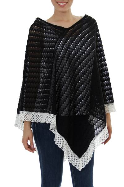 Knit 100% Cotton Poncho Black Champagne Mexico