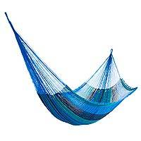 Nylon rope hammock, 'Caribbean Waves' (single) - Hand Woven Nylon Blue Teal Hammock (Single) from Mexico