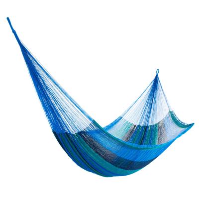 Hand Woven Nylon Blue Teal Hammock (Single) from Mexico