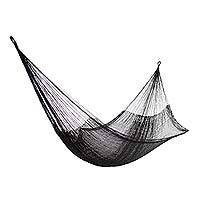 Hammock, 'Black Relaxation' (single) - Hand Woven Nylon Black Hammock (Single) from Mexico