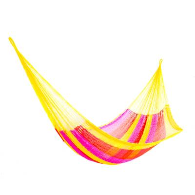 Hand Woven Nylon Pink Yellow Hammock (Single) from Mexico