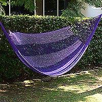 Hammock, 'Lilac Blossom' (single) - Hand Woven Nylon Purple Hammock (Single) from Mexico