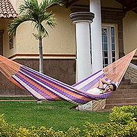 Hammock, 'Melon Stripe' (single) - Hand Woven Nylon Purple Orange Hammock (Single) from Mexico