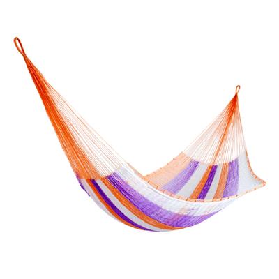 Hand Woven Nylon Purple Orange Hammock (Single) from Mexico