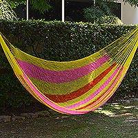 Hammock, 'Candy Delight' (double) - Hand Woven Nylon Pink Yellow Hammock (Double) from Mexico