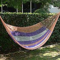 Hammock, 'Melon Stripe' (double) - Hand Woven Nylon Striped Hammock (Double) from Mexico