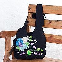 Cotton applique shoulder bag,