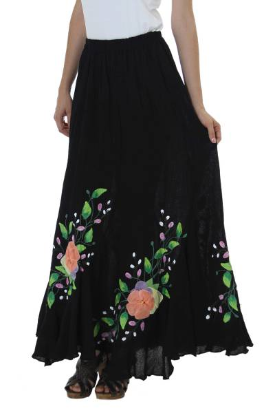 Cotton applique long skirt, 'Midnight in Puebla' - Floral Applique Long Black Elastic Waist Cotton Tulip Skirt