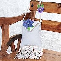 Cotton applique shoulder bag, 'Floral Flirt' - Handcrafted Floral Applique Fringed Cotton Shoulder Bag