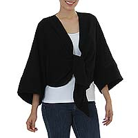 Cotton bolero jacket, 'Chamela Night' - Black Cotton Tie Front Open Back Bolero Jacket