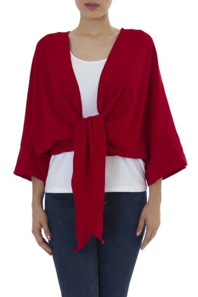 Cotton bolero jacket, 'Chamela Crimson' - Tie Front Open Back Red Cotton Bolero Jacket