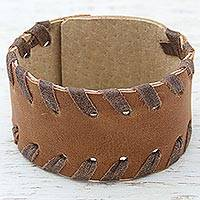Leather wristband bracelet, 'Mexican Coffee' - Brown Leather Wristband Bracelet from Mexico