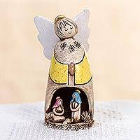 Ceramic nativity sculpture, 'Yellow Guardian Angel' (4 inch) - Handmade Yellow Ceramic Angel Nativity Scene from Mexico