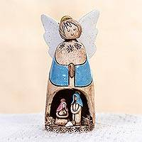 Ceramic nativity scene, 'Blue Guardian Angel' - Handcrafted Blue Ceramic Nativity Scene in Angel from Mexico