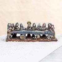 Ceramic sculpture, 'Last Supper with Jesus' - Handcrafted Ceramic Sculpture of the Last Supper from Mexico